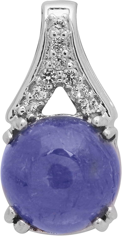 Shine Jewel Tanzanita de plata de ley 925 con colgante de piedras preciosas para mujer topacio blanco