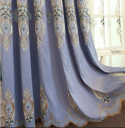 GJXY Cortinas de algodón Bordado Cortina de bambú Europea Cortinas de la Sala 2pcs,Azul,200X230cm: Amazon.es: Hogar