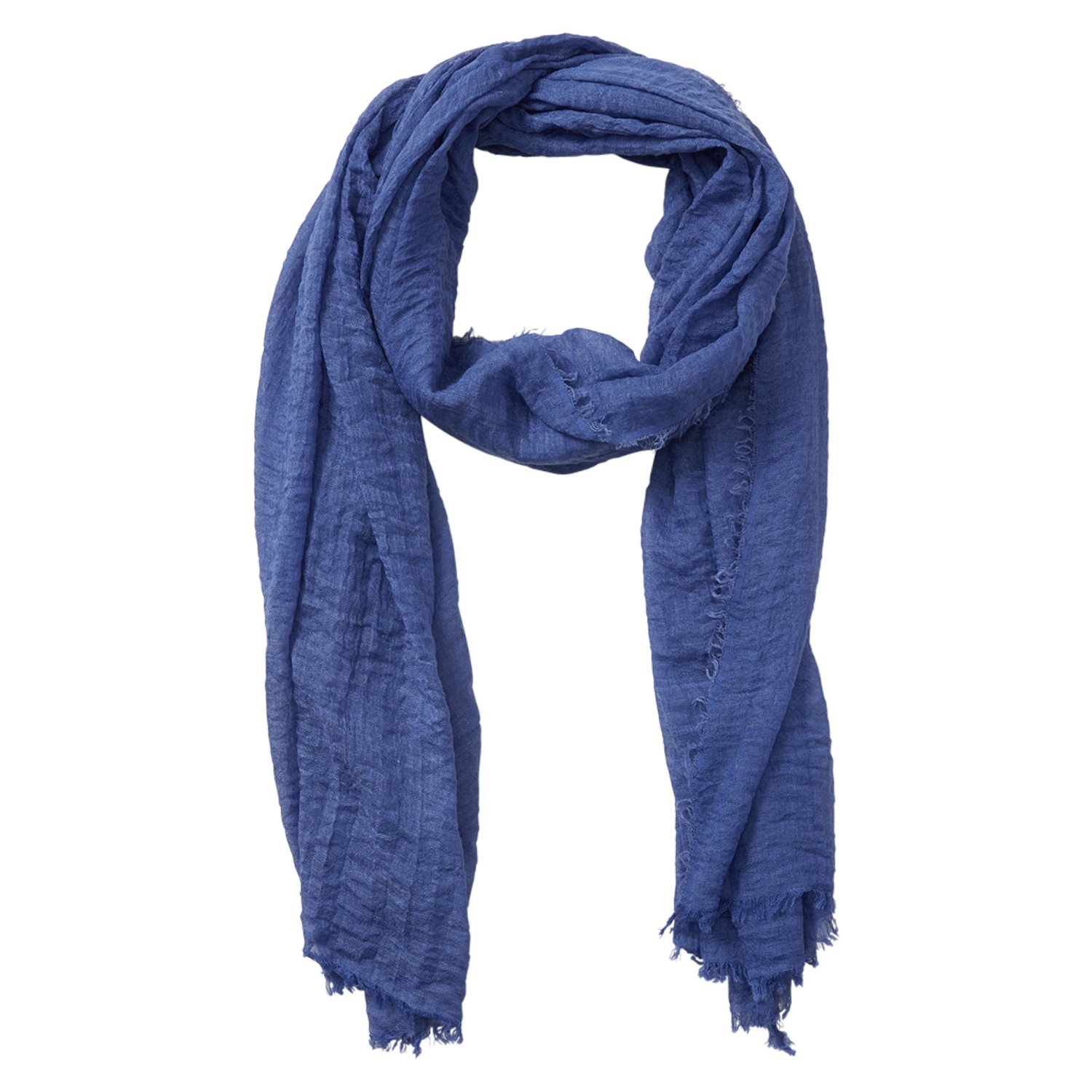 Tickled Pink Classic Soft Solid Stylish Long Lightweight Pashmina-Like Cotton Blend Scarf 38 x 70'' - Blue