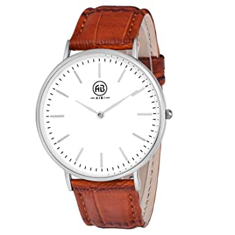 watch quartz women movement classic tan brown leather face white time watches stainless steel