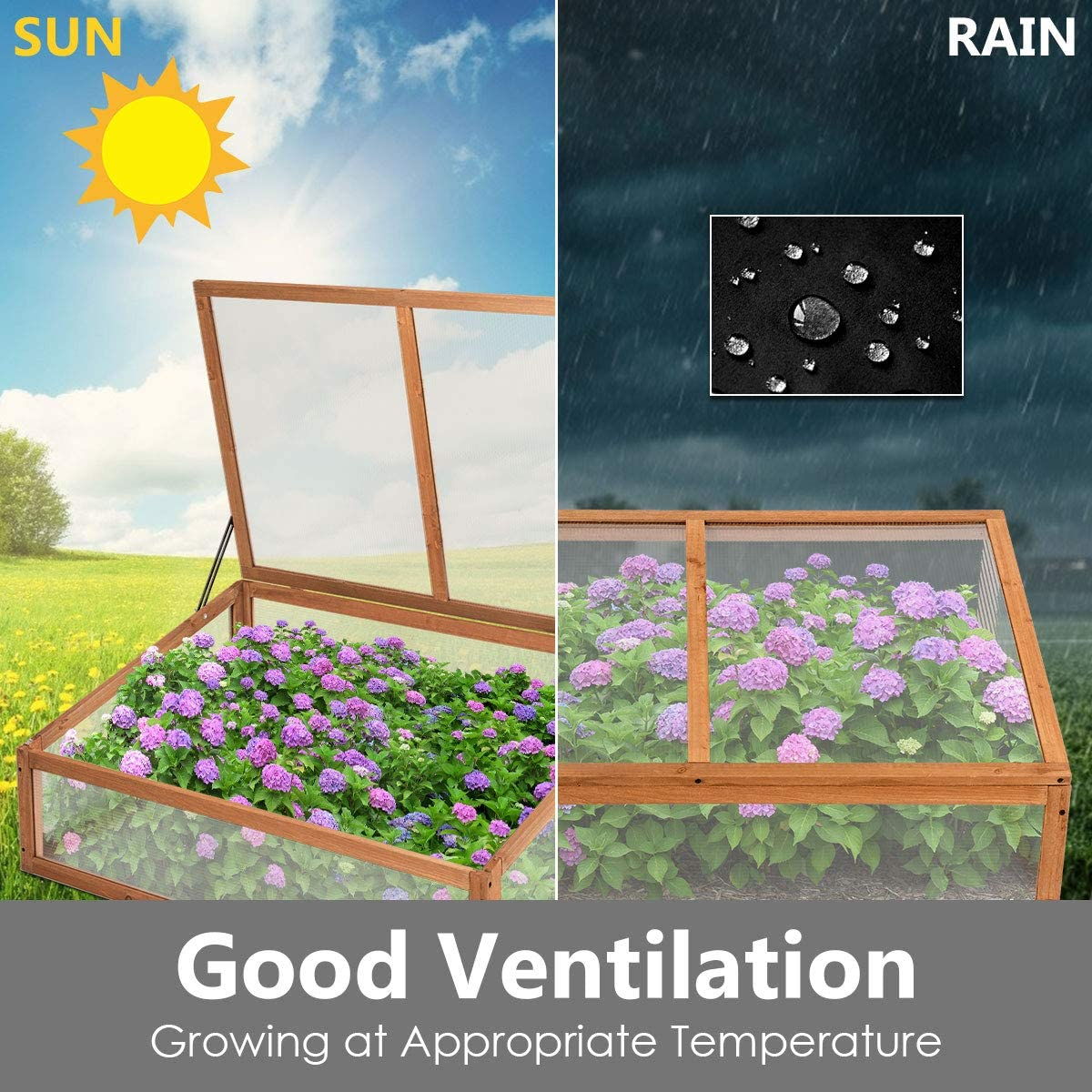 Garden Flowers Vegetables Potted Plants Transparent Growhouse for Patio Balcony Backyard COSTWAY Outdoor Wooden Greenhouse