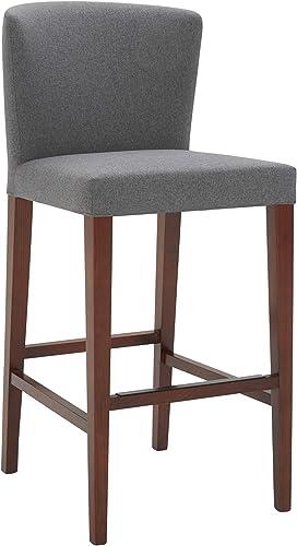 Amazon Brand Rivet Eli Modern Curved-Back Barstool, 42.1 H, Graphite