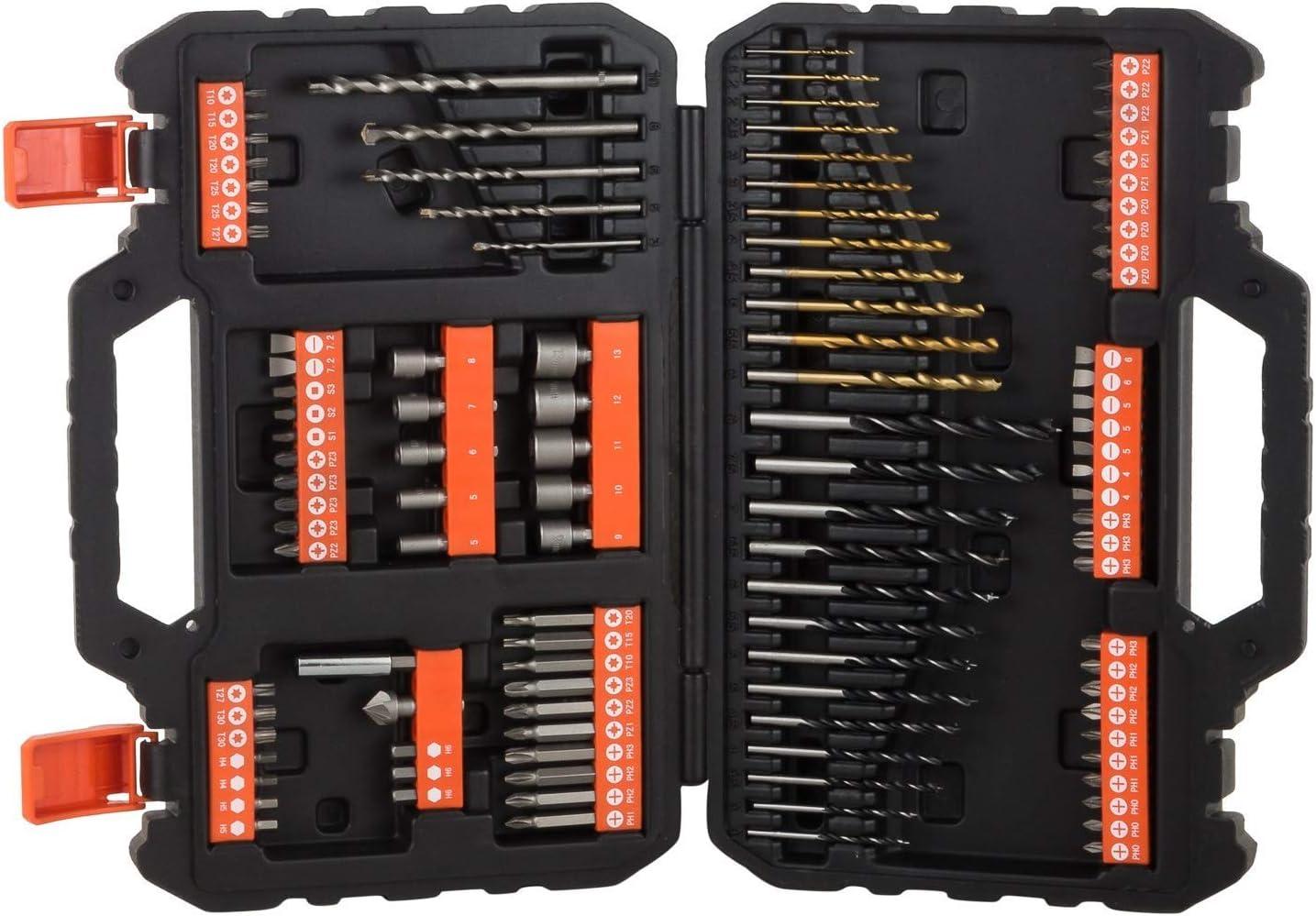 BLACK+DECKER A7200-XJ - Juego de 109 piezas para atornillar y taladrar con brocas