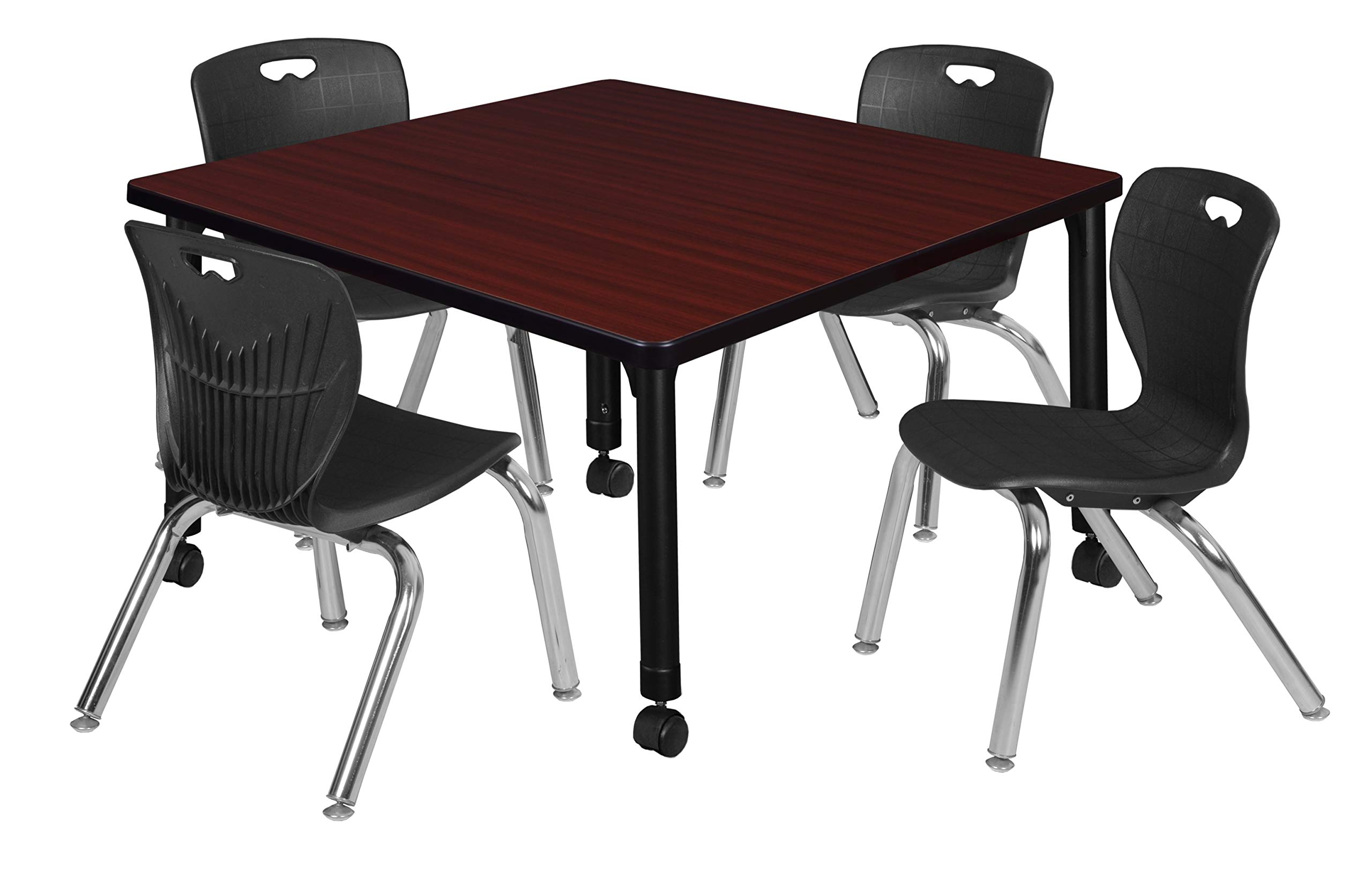Regency TB4242MHAPCBK45BK Kee Height Adjustable Mobile Classroom Table Set with Four 12'' Andy Chairs 42'' Mahogany/Black
