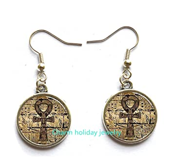 brass il earrings ancient gold cjzq disc jewelry listing hammered egyptian