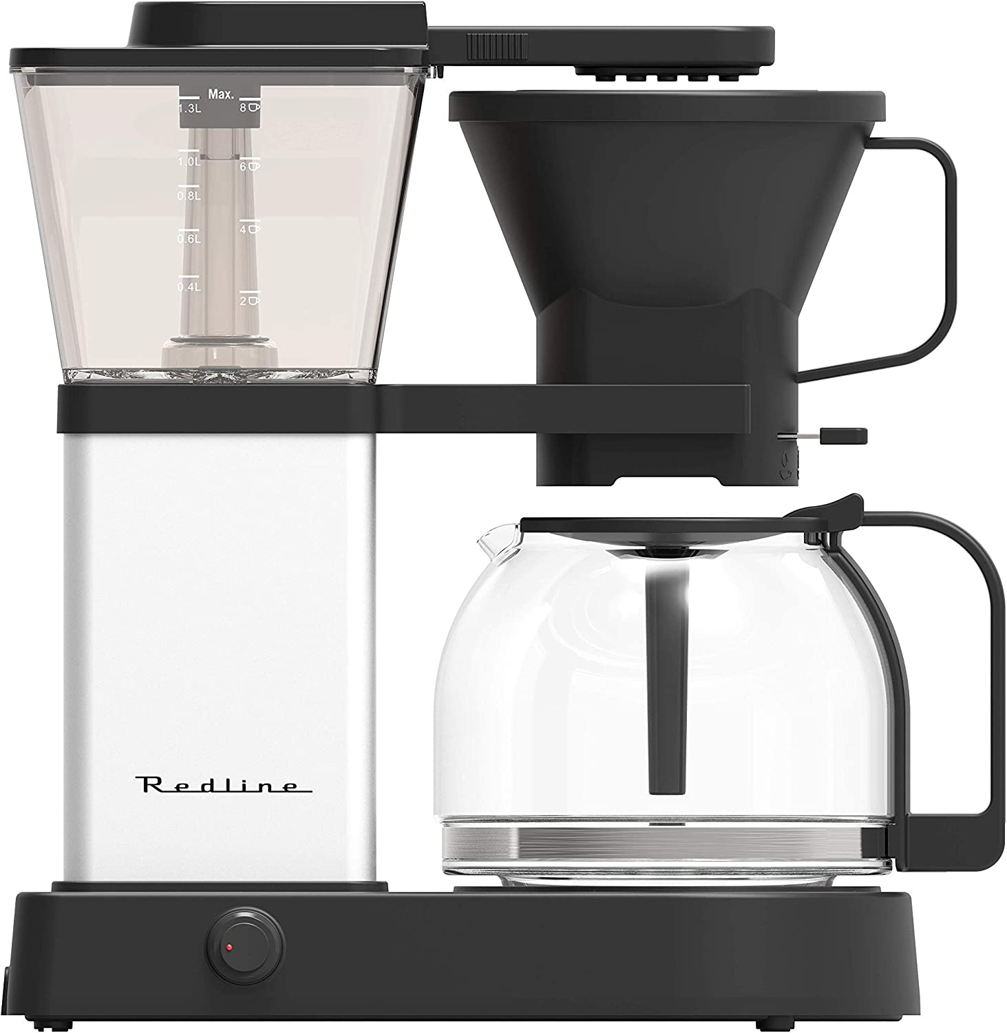 Redline MK1 8 Cup Coffee Brewer with Glass Carafe, Hot Plate and Pre-Infusion Mode Summer 2018 Refresh