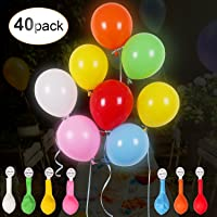 AGPTEK 40PCS LED Light Up Balloons, Mixed Color Luminous Balloon with Ribbon for Parties, Birthdays, Festivals and Wedding Decorations