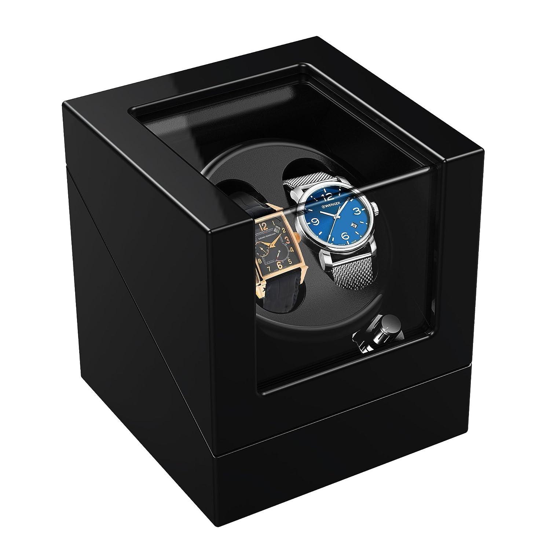 TRIPLE TREE ワインディングマシーン 腕時計自動巻き器 ウォッチワインダー マブチモーター 腕時計 時計 2本巻き上げ ピアノ鏡面仕上 静音設計 ブラック 12ヶ月保証期間 B071V52MSN  マシーン