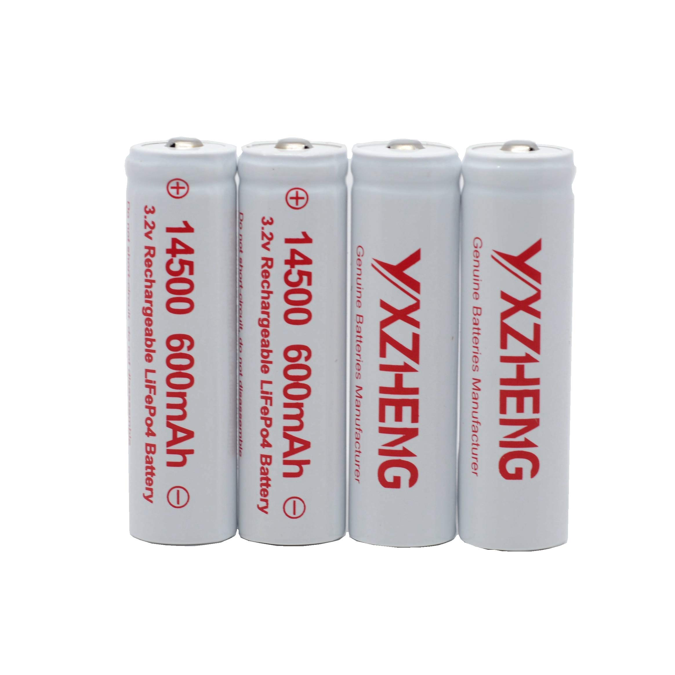 YXZHENG 4 PCS 3.2V LiFePO4 Batteries AA Size 600mAh Rechargeable for Camera Microphone Solar Lights Lawn Light by YXZHENG