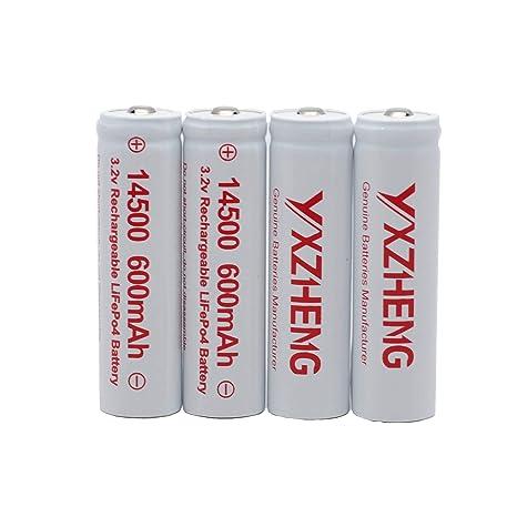 Amazon.com: YXZHENG 4 pilas LiFePO4 de 3,2 V, tamaño AA, 600 ...