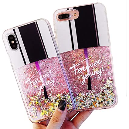 Sexy Nail Polish Bottle Dynamic Liquid Quicksand Glitter Stars Bling Protector Case Cover ~ Estuche Fundas Forros Cobertor Carcasa (iPhone 7 Plus)