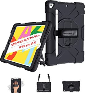 SUPFIVES iPad 8th Generation 2020/7th Generation 2019 iPad 10.2 Case with Hand Strap, Shoulder Strap, 360°Rotatable Stand, Pencil Holder Heavy Duty Rugged Case for Apple iPad 7th/8th Gen 10.2 (Black)