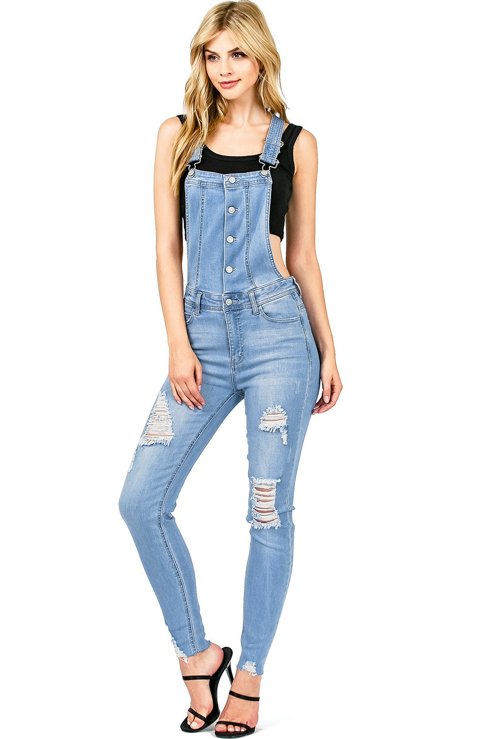 Celebrity Pink Women's Juniors Distressed Skinny Overalls (S, Light Denim)
