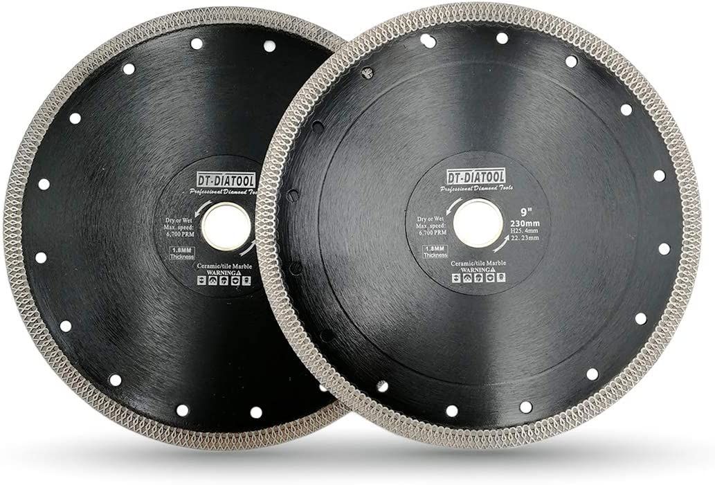 DT-DIATOOL Disco Tronzador Diamante 105 mm x 22,23 mm//16 mm Hoja de Sierra con X Malla Turbo para Corte de Porcelanico Azulejos M/ármol Granito Cer/ámica