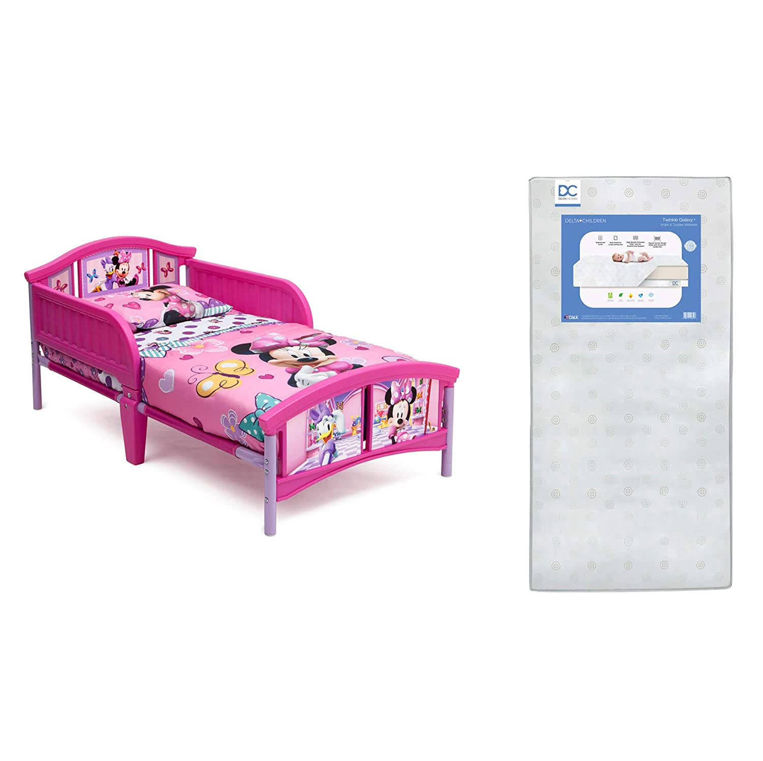 Delta Children Plastic Toddler Bed, Disney Minnie Mouse + Delta Children Twinkle Galaxy Dual Sided Recycled Fiber Core Toddler Mattress (Bundle)
