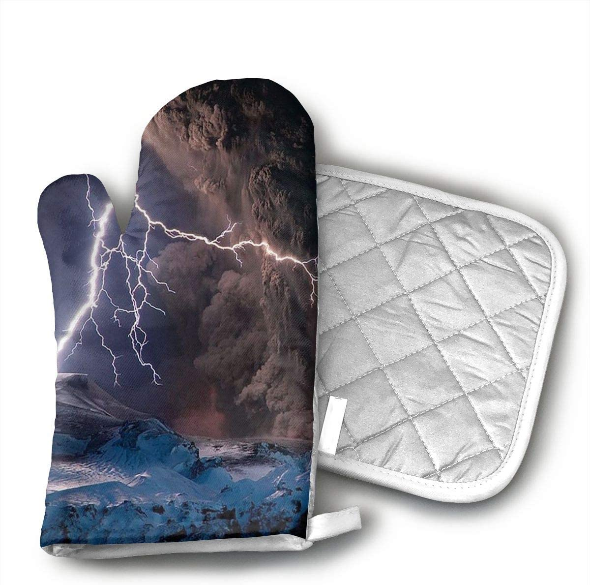 KEIOO Oven Mitts and Potholders Nature Lightning Heat Resistant Kitchen Set Non-Slip Grip Oven Gloves BBQ Cook Bak Grill Set of 2