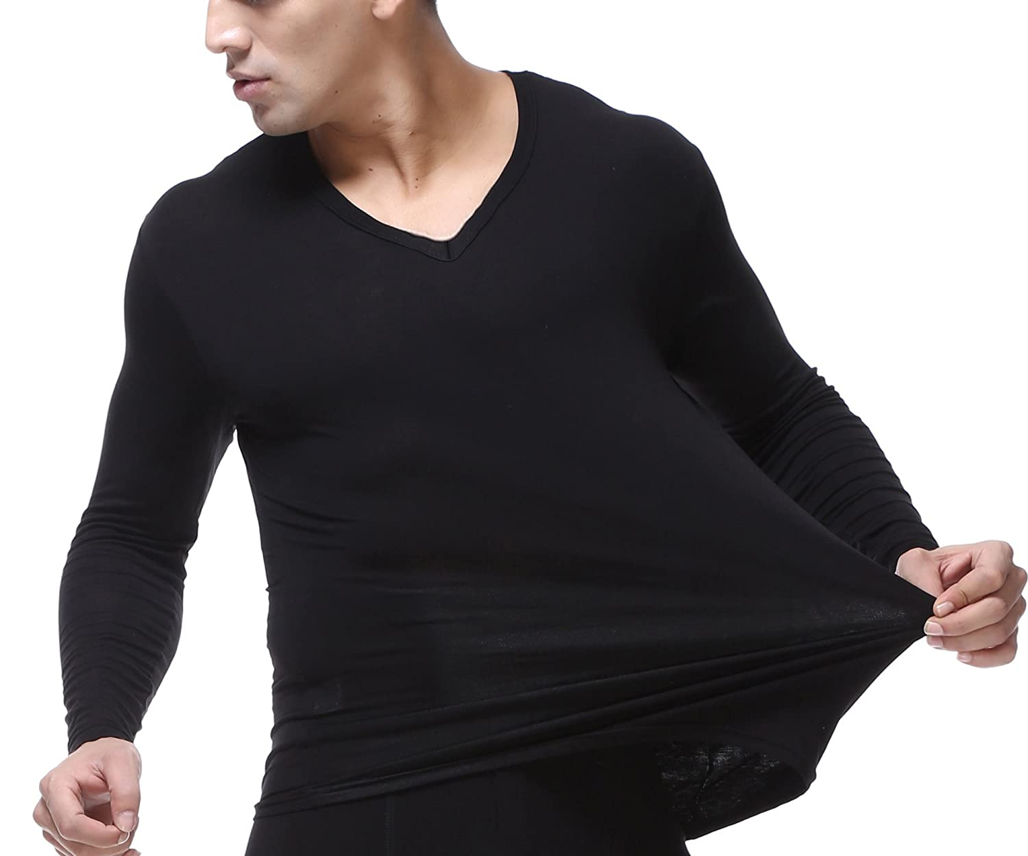 WUAMBO Athletic Mens Soft Long Sleeve V Neck Muscle T Shirts,Comfortable Undershirts