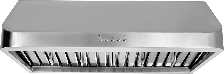 "Thorkitchen HRH3002U 30"" Under Cabinet Range Hood with 900 CFM Push Control, Stainless Steel"