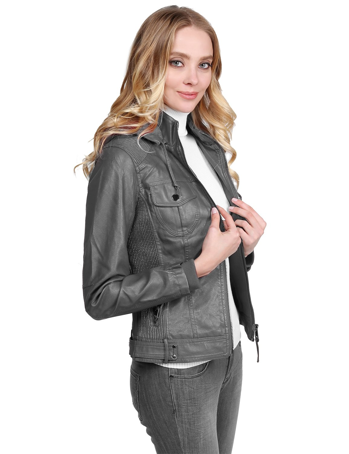 Made by Emma Faux Leather Jacket with Detachable Hood Charcoal L Size
