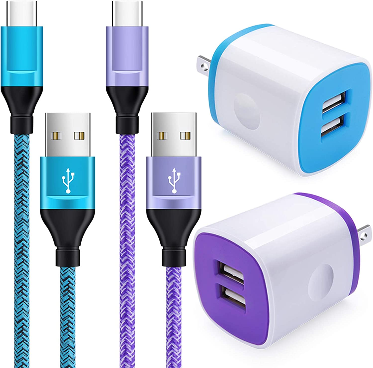 Google Pixel XL Samsung Galaxy S10e//Note 10 S20 USB C Charger Set 4 in 1 ,3.4A Car Adapter,2.1A Wall Charger Block with 2Pack 6Ft Type C Charger Cord Compatible with Moto Z4//G7//G7 G8 Plus//G7 Play//X5