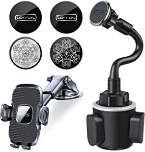 TORRAS Cell Phone Holder for Car + Magnetic Car Cup Holder Phone Mount