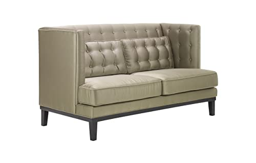 Armen Living Noho Loveseat in Champagne Fabric and Black Wood Finish