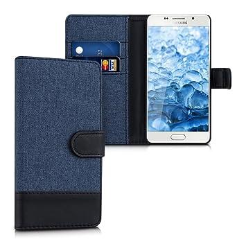 kwmobile Funda para Samsung Galaxy A5 (2015) - Carcasa de Tela y [Cuero sintético] - con Tapa y [Tarjetero] [Azul Oscuro/Negro]