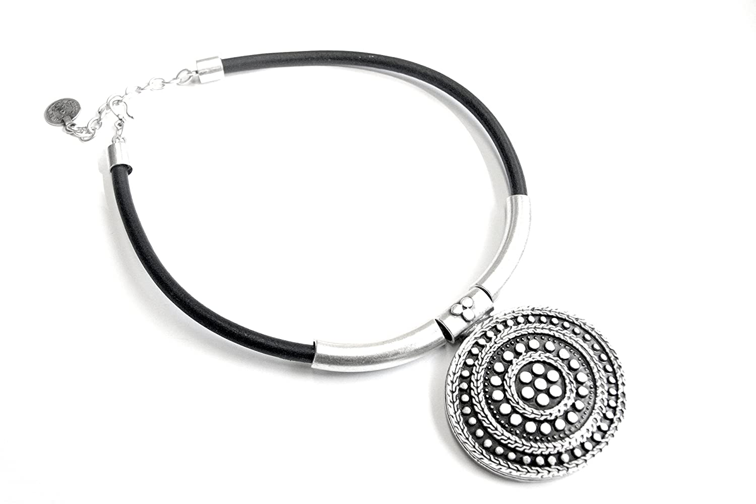 Chanour Jewelry Pewter /& Leather Necklace