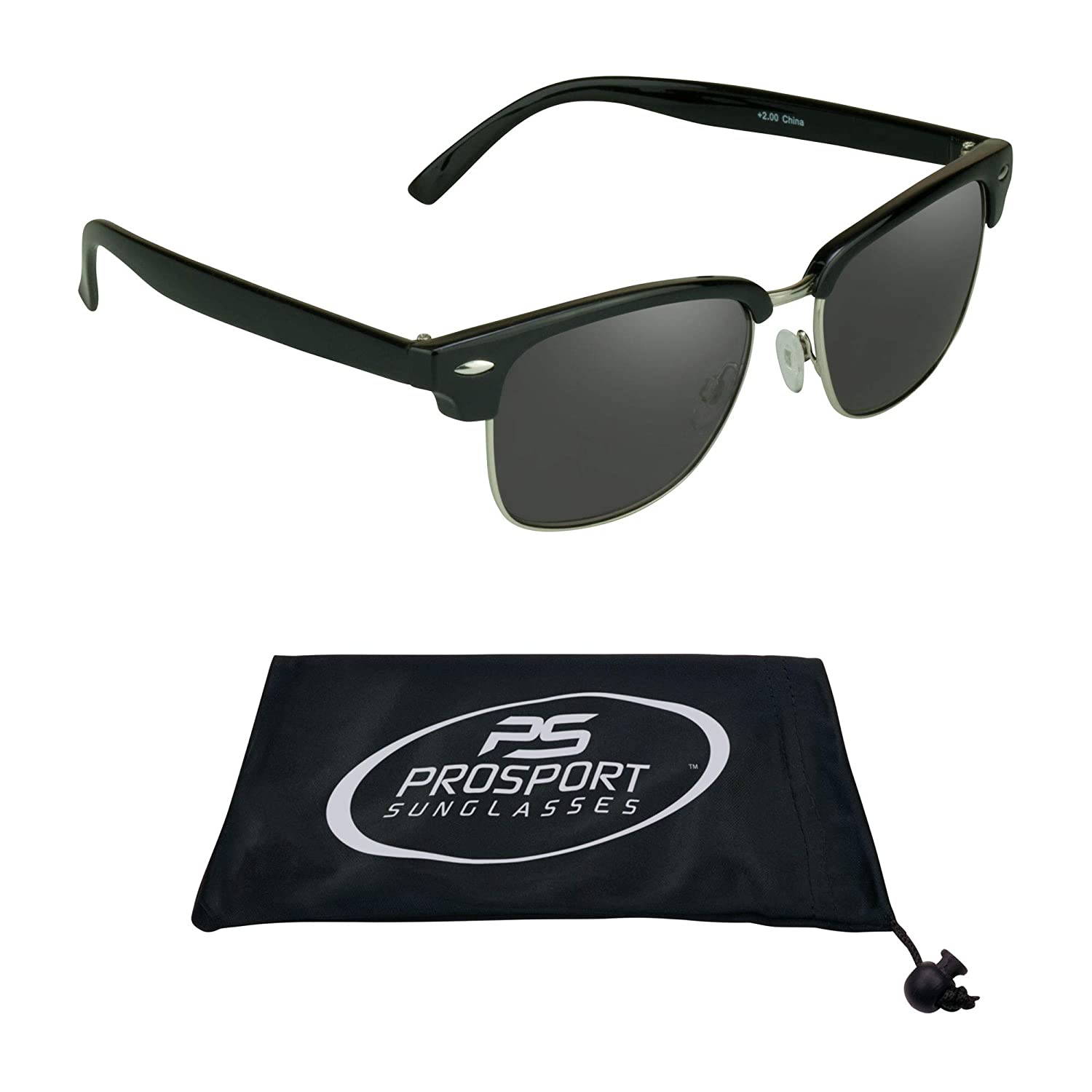 4fd3f1423f9 Amazon.com  proSPORT Classic Reading Sunglasses with Round Horn Rimmed  Plastic Frame for Men   Women - Not Bifocal  Clothing