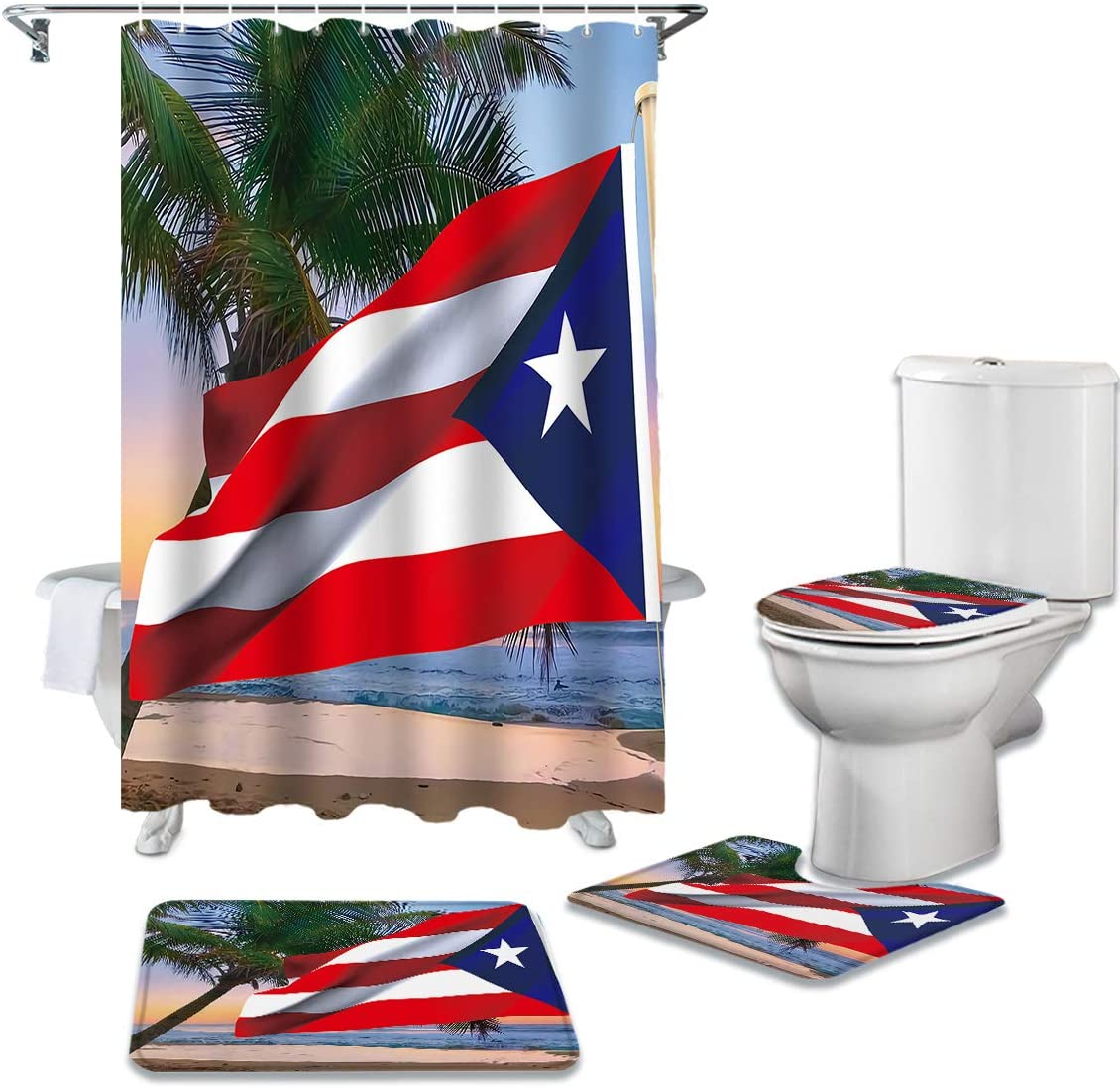 4 Piece Shower Curtain Sets with Non-Slip Rugs, Coastal Ocean Beach Palm Tree Bathroom Curtains Waterproof, Puerto Rico Flag Decor Doormat, Toilet Lid Cover and Bath Mat