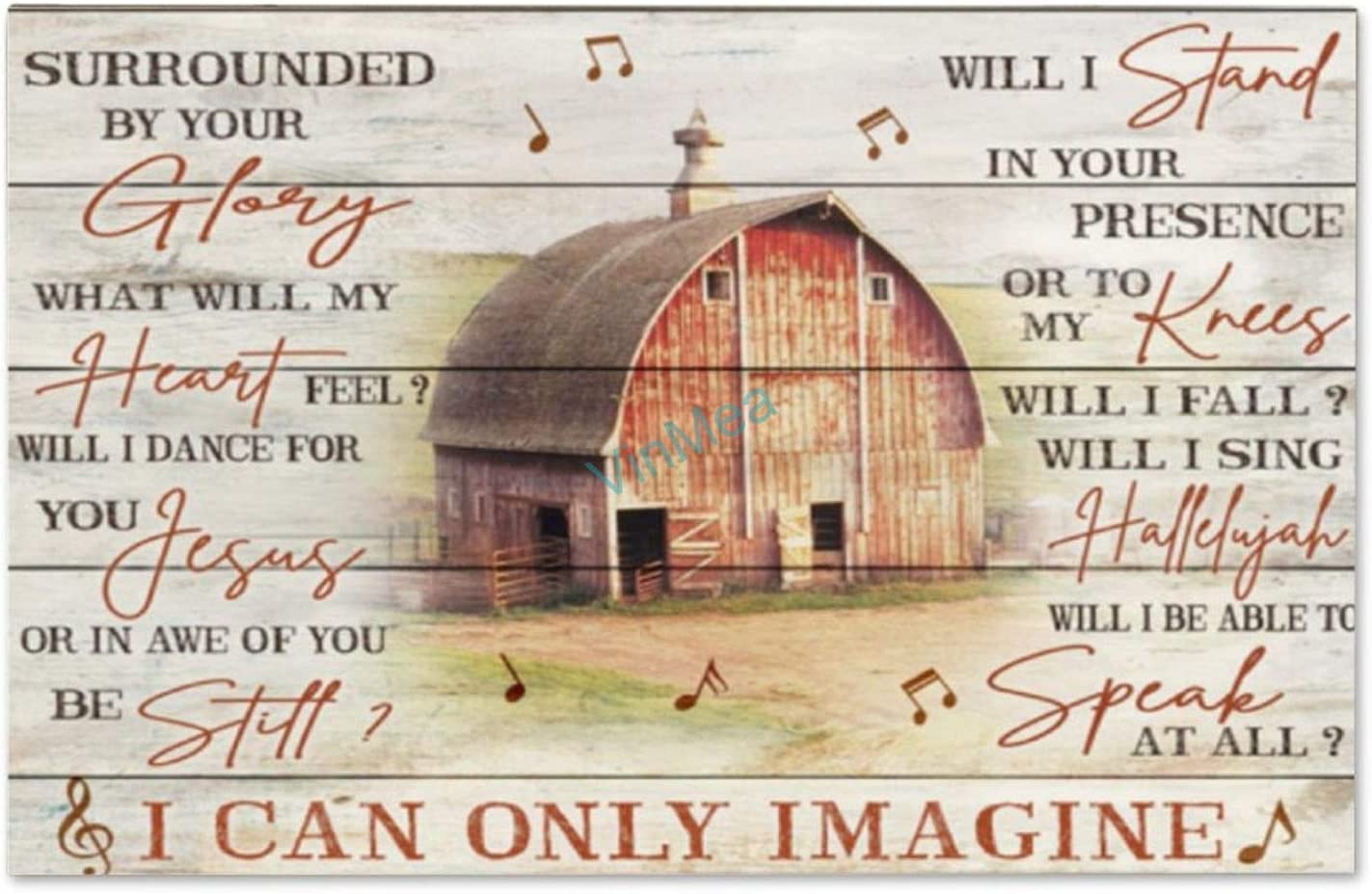 VinMea Wood Sign I Can Only Imagine Wooden Plaque Home Decor Wall Art Rustic Signs, 16 x 10 Inches