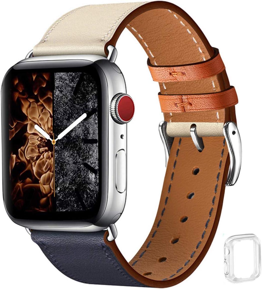 WFEAGL コンパチブル Apple Watch バンド,は本革レザーを使い、iWatch SE、 Series 6/5/4/3/2/1、Sport、Edition向けのバンド交換ストラップです コンパチブル アップルウォッチ バンド(42mm 44mm, ダークブルーのアイボリー バンド+シルバー 四角い...
