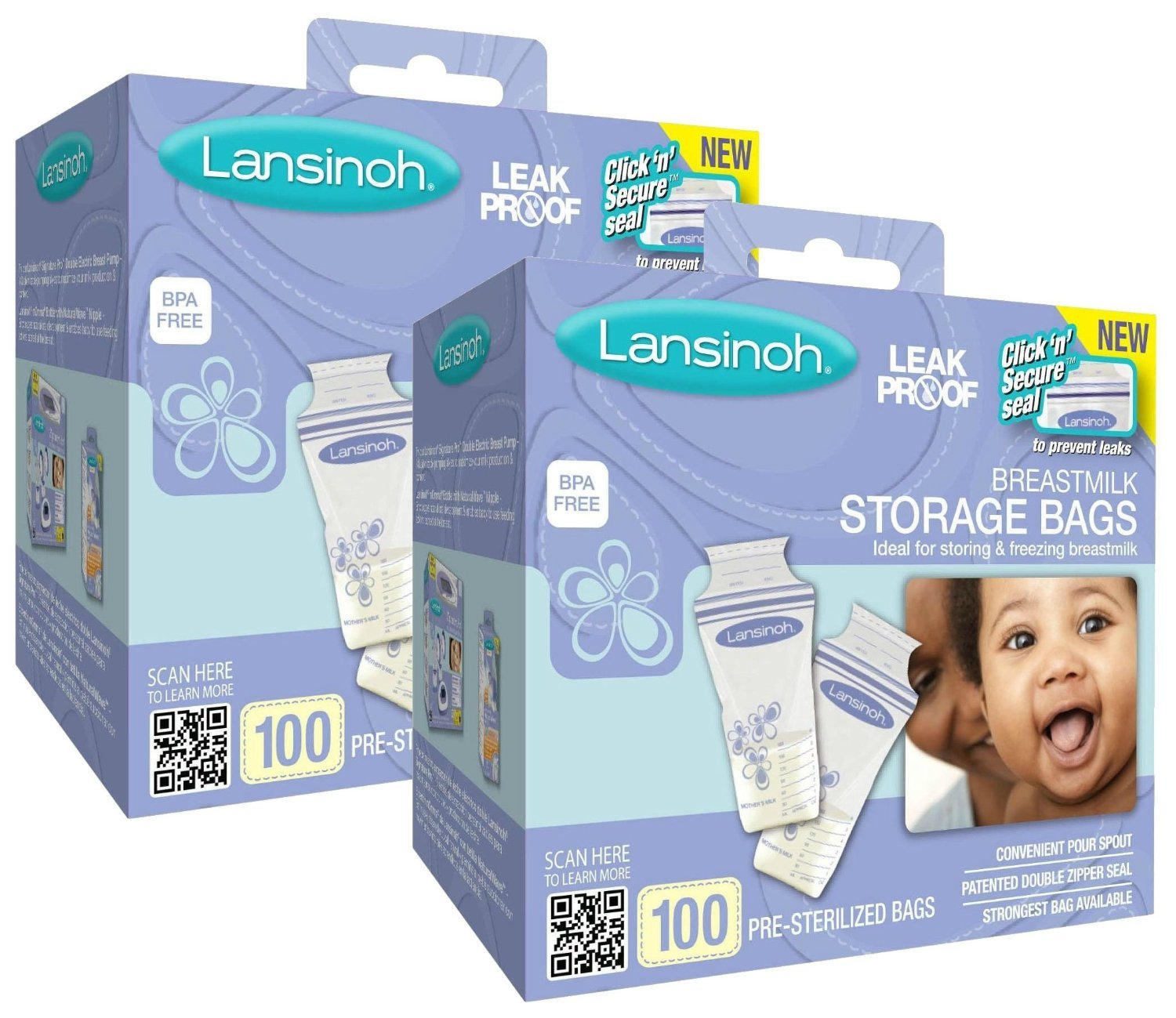 Lansinoh Breast Milk Storage Bags, 100-Count (2 pack)