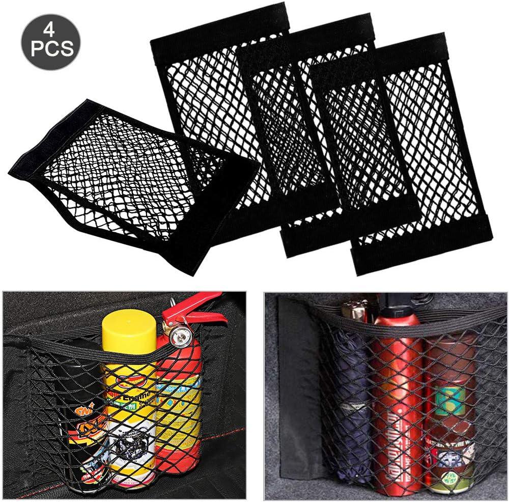 Trunk Storage Net Filet de Rangement de Coffre Avec Velcro 40x25cm Warxin Sticker String Net Stockage de maille Ajouter Organisateurs,Sac Pocket Organizer pour Pour les Voiture 4 Pack