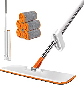 MASTERTOP Easy Self Wringing Mop, 360 Spin Lazy Flip Flat Mop with 5 Reusable Refills, Wet & Dry Mop for Home Bathroom Kitchen Cleaning