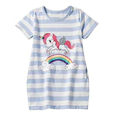2be8ebee2 NNJXD Toddler Baby Girls Sundress Print Unicorn Rainbow Striped Casual  Daily Kids Top Dresses: Amazon.co.uk: Clothing