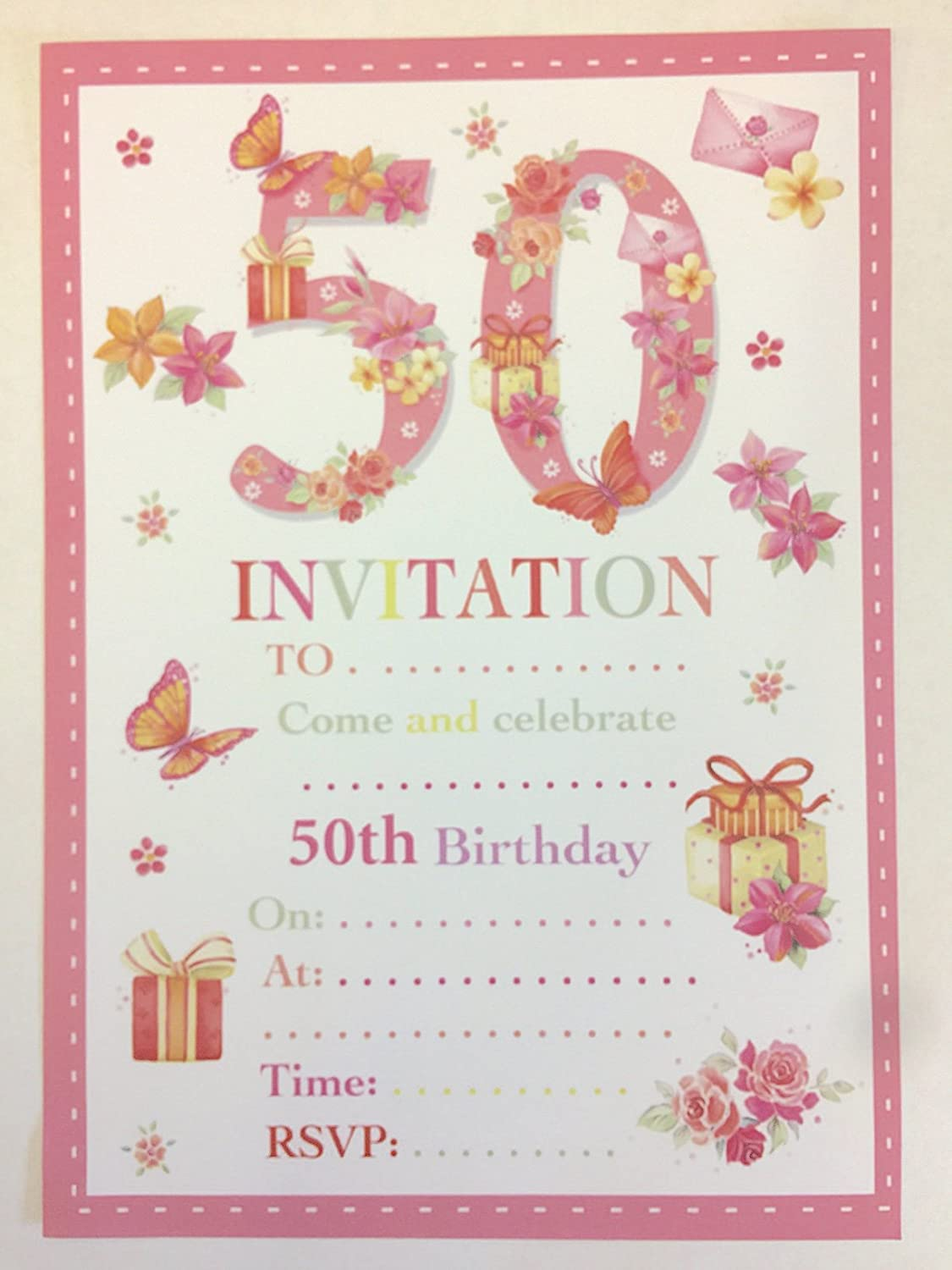 50th Birthday Party Invitations. Female Design. 20 Sheets and ...