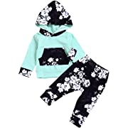 HappMA Infant Baby Girl Fall Outfits Long Sleeve Floral Hoodie Tops Pants Clothes Set 6-12(80), Green+black, 6-12 Months