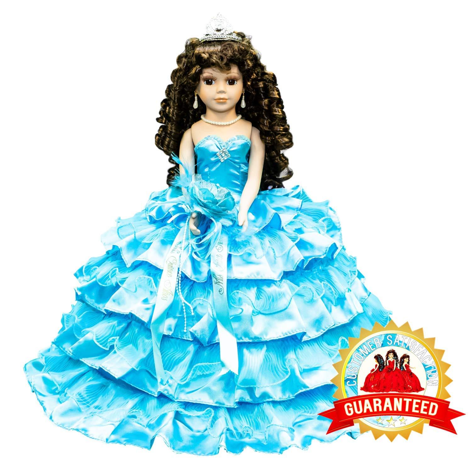 Kinnex Collections by Amanda 18'' Porcelain Quinceanera Umbrella Doll (Table Centerpiece) ~ Turquoise ~ KK18729-10