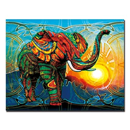 Tonzom Colorful Elephant Wall Art Decor Animals Oil Painting Painted Prints Wall Decor Art Decor Gift 12x16inch
