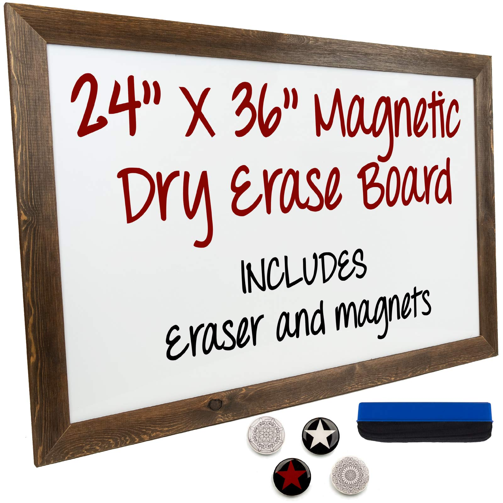 Dry Erase Magnetic White Board with Rustic Wooden Frame for Home, School, Office - 24''x36''