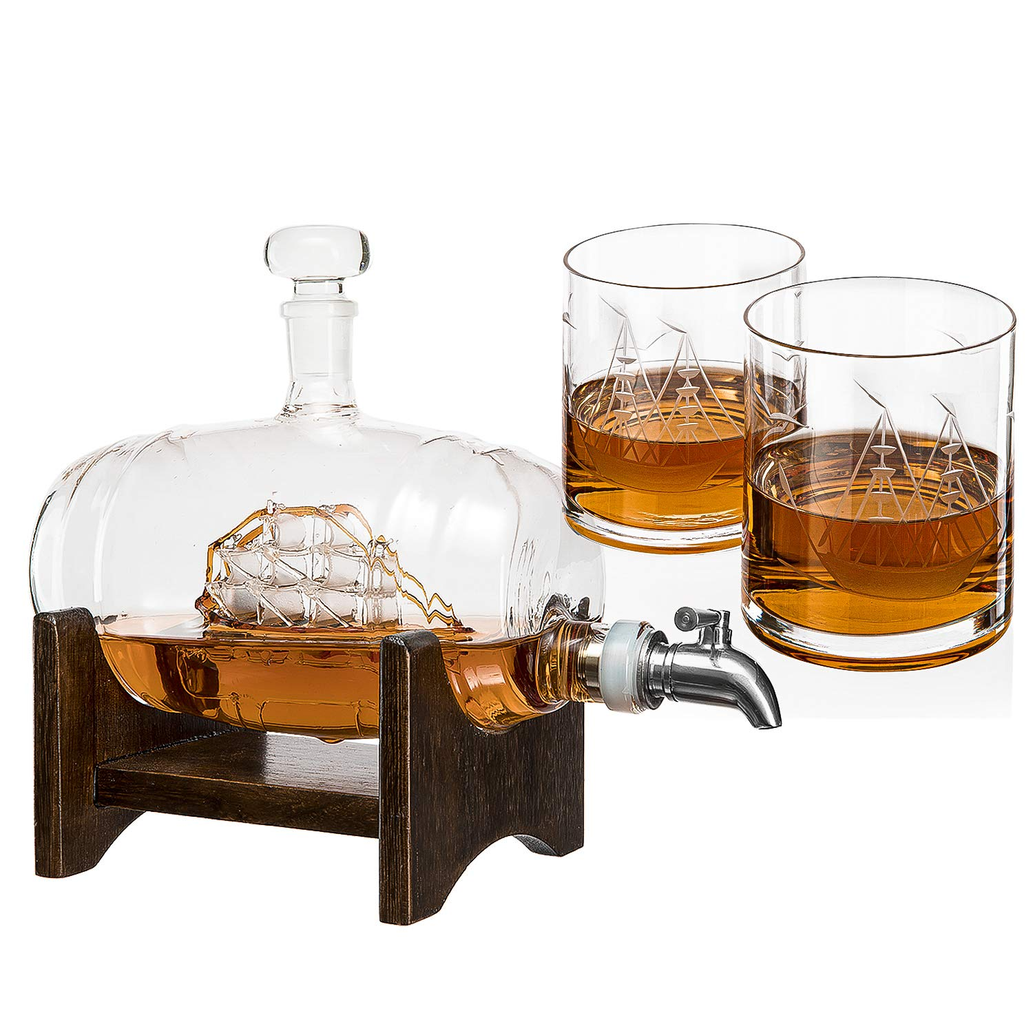 Whiskey Barrel Decanter With Ship With 2 Glasses - By The Wine Savant Decanter by The Wine Savant