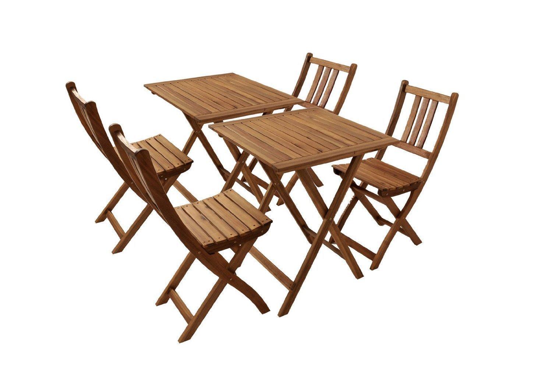SAM® Gartengruppe 1 Blossom, 6tlg., geölt, Garten-Möbel aus Akazienholz, bestehend aus 2 x Tisch + 4 x Klappstuhl, zusammenklappbar, Garten-Tischgruppe, Sitzgruppe aus Akazien-Holz, FSC® 100% zertifiziert