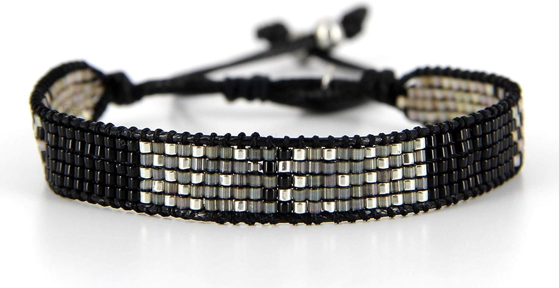 Belle Mais Pas Que Pulsera de cordón Black Rock Silver, perla Miyuki, negro 4