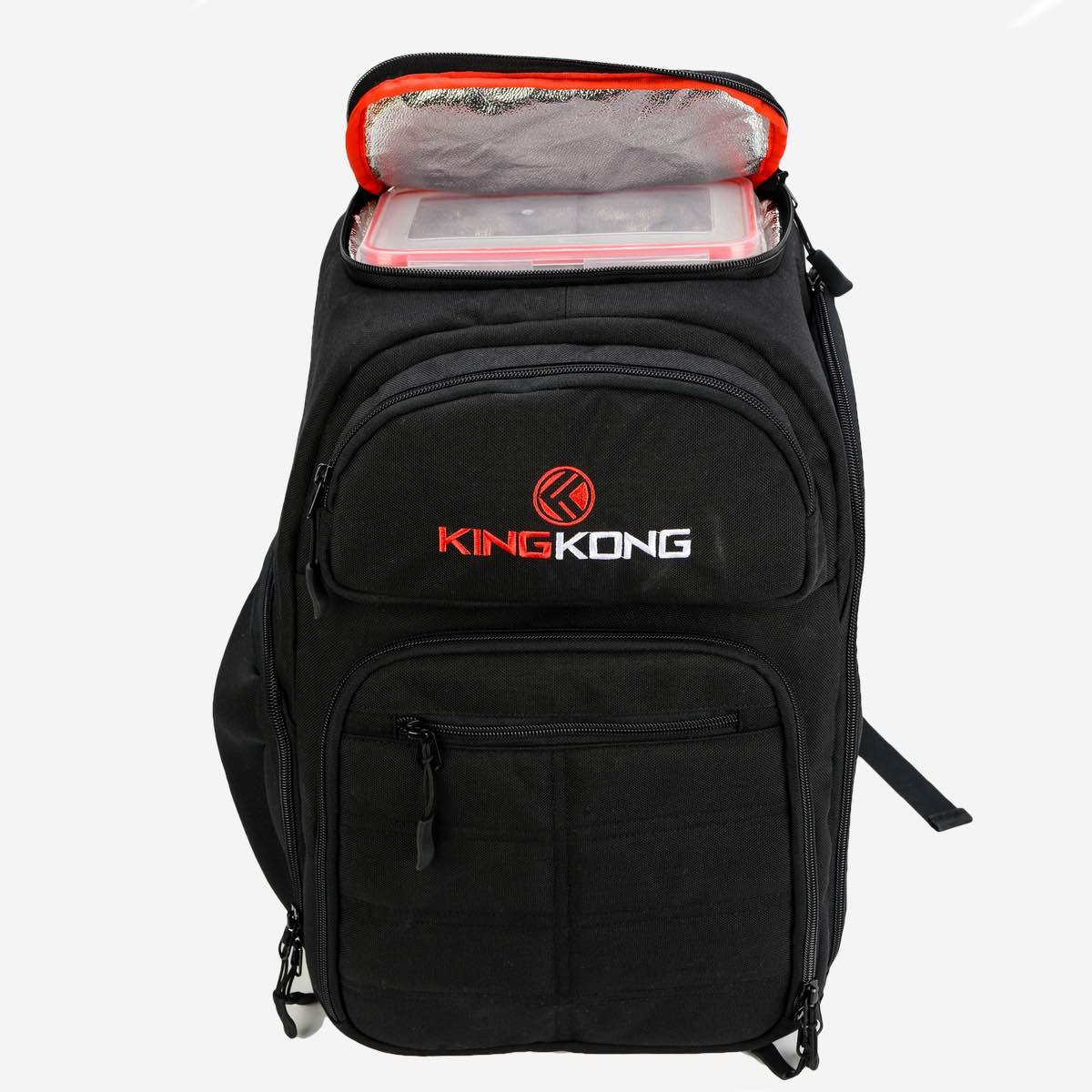 King Kong Fuel Meal Prep Backpack - Insulated Thermal Polyester Lunch Bag, Military Spec Nylon with Two Reusable Ice Packs - Black by King Kong (Image #2)