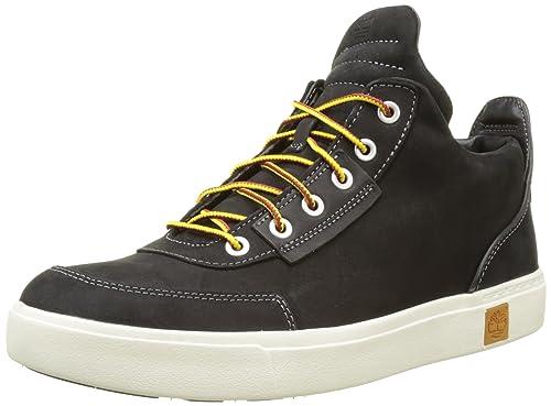 Timberland Men's Amherst High Top Sensorflex Chukka Boots, Jet Black TBL  Forty Full Grain,