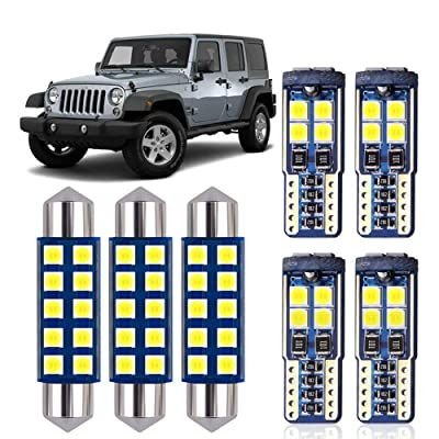 DODOFUN White LED Interior Map Dome Upper Reading Light Kit and License Plate Bulb for Jeep JK Wrangler 2007-2020: Automotive