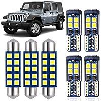 DODOFUN Bright LED Interior Map Dome Upper Reading Light Kit and License Plate Bulb for Jeep JK Wrangler 2007-2018 White…