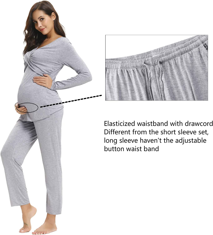 Hawiton Womens Maternity Pajama Set Long Sleeve Nursing Breastfeeding Sleepwear