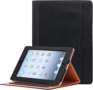 for iPad 9.7 6th/5th Generation 2018/2017, iPad Air/Air 2 Case, JYtrend Multi-Angle Viewing Stand Folio Smart Cover with Pocket for A1893 A1954 A1822 A1823 A1474 A1475 A1476 A1566 A1567 (Black)